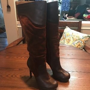 Brown Jessica Simpson Leather & Suede Tall Boots
